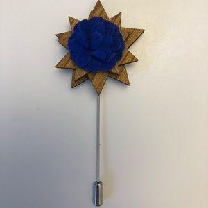 Other - Men's Suit Accessory | Wooden Flower Lapel Pin